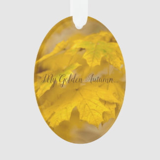 Yellow autumn maple leaves. Add you text or name. Ornament