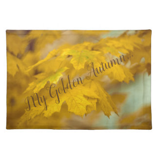 Yellow autumn maple leaves. Add you text. Placemat