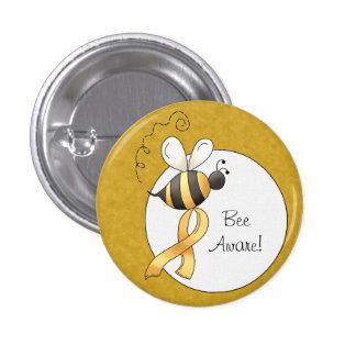 Yellow Awareness Ribbon Bee 3 Cm Round Badge