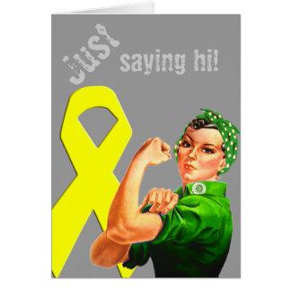 Yellow Awareness Ribbon Rosie the Riveter Card