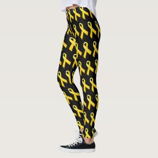 Yellow Awareness Ribbon (several backgrounds) Leggings