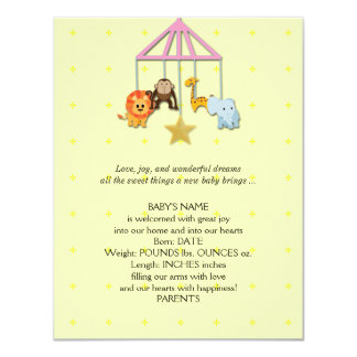 "Yellow Baby Animal Mobile Baby Announcement 4.25"" X 5.5"" Invitation Card"