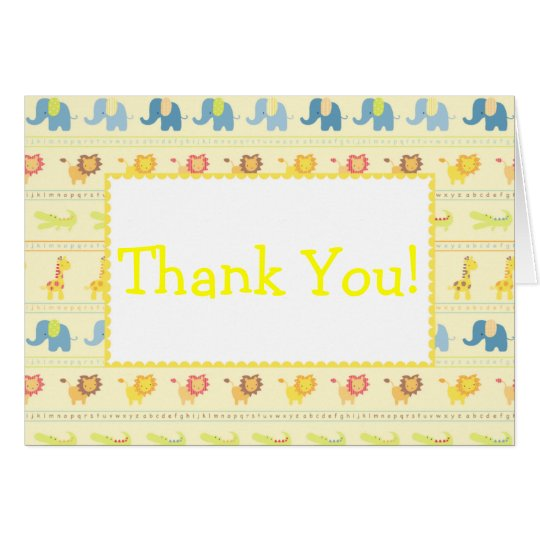 Yellow Baby Animals Thank You Cards