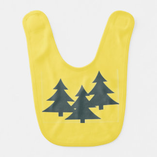 Yellow Baby Bib with Pine Trees