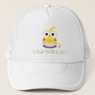 Yellow Baby Bird Gender Reveal Baby Shower Trucker Hat