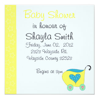 Yellow Baby Buggy Baby Shower Card