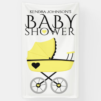 Yellow Baby Carriage Baby Shower Banner
