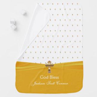 Yellow Baby Christening | Baptism | Gold Crosses Baby Blanket