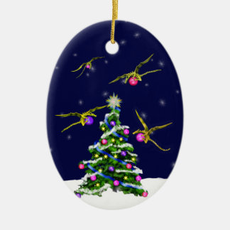 Yellow Baby Dragons Encircle a Christmas Tree Christmas Ornaments