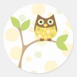 Yellow Baby Owl Round Sticker