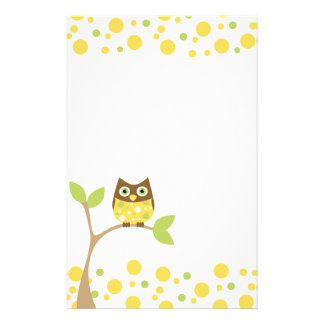 Yellow Baby Owl Stationery