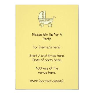 Yellow Baby Pram. Invitations