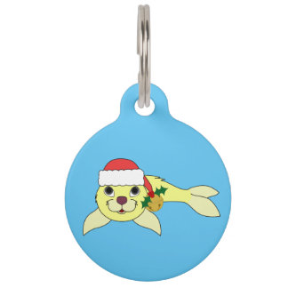 Yellow Baby Seal with Santa Hat & Gold Bell Pet Tag