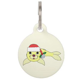Yellow Baby Seal with Santa Hat & Silver Bell Pet ID Tags
