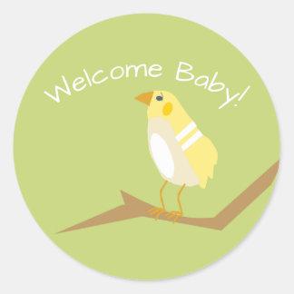 Yellow Baby Shower Chic Nature Bird Sticker