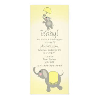 Yellow Baby Shower Mother & Baby Elephant Invite