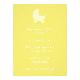 Yellow Baby Stroller. 17 Cm X 22 Cm Invitation Card