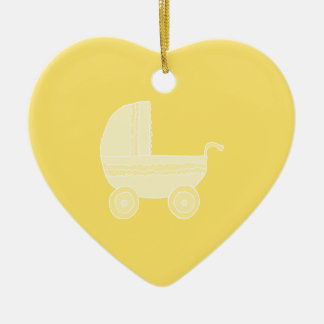 Yellow Baby Stroller Christmas Tree Ornaments
