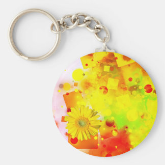 Yellow Backdrop Basic Round Button Key Ring