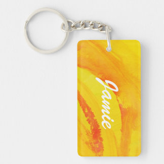 yellow background. watercolor on paper Double-Sided rectangular acrylic key ring