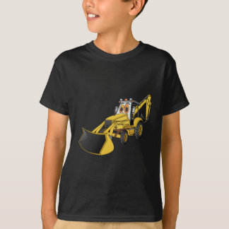 Yellow Backhoe Cartoon T-Shirt