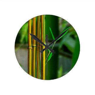 Yellow Bamboo Round Clock