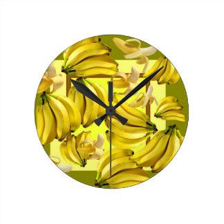 yellow bananas round clock