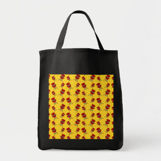 yellow barbeque pattern tote bag