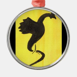 Yellow Basilisk Metal Ornament
