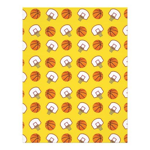 Yellow basketballs and nets pattern personalized flyer