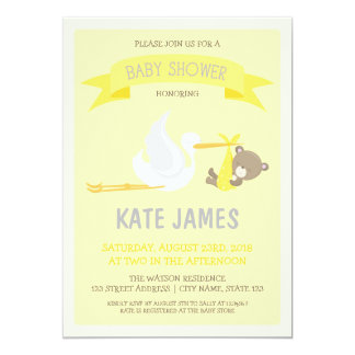 Yellow Bear and Stork Baby Shower Invitation