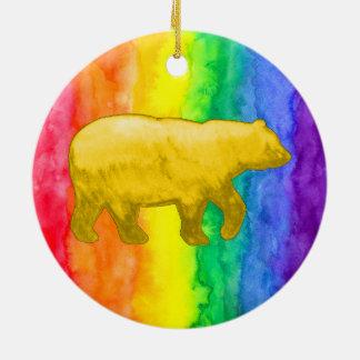 Yellow Bear on Rainbow Wash Circle Ornament