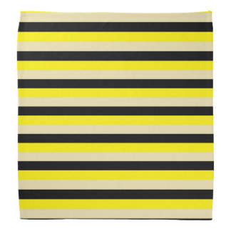 Yellow, Beige and Black Stripes Bandana