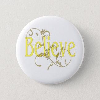 Yellow Believe with Tan Flourish 6 Cm Round Badge