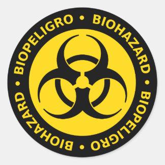 Yellow Bilingual Biohazard Warning Classic Round Sticker