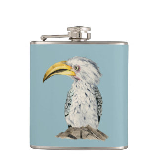 Yellow-Billed Hornbill Watercolor Painting Hip Flask