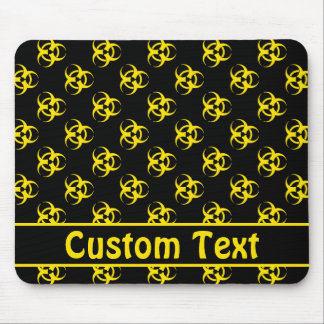 Yellow Biohazard Mousepad w/ Custom Text