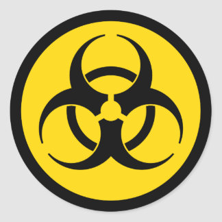 Yellow Biohazard Symbol Sticker