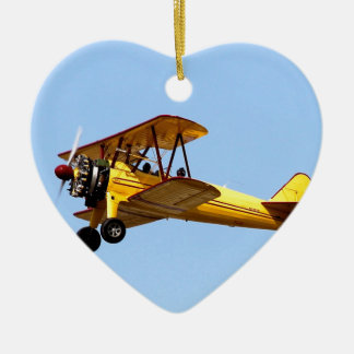 Yellow Biplane Ceramic Ornament