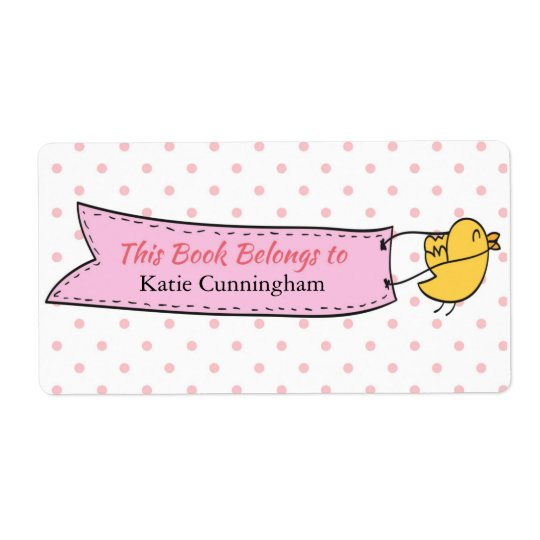 Yellow Bird, Banner, Bookplate Label Shipping Label
