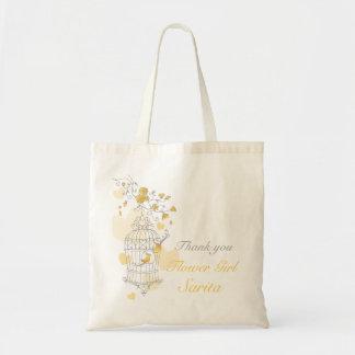 Yellow bird cage wedding flower girl bag