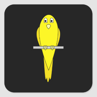 Yellow Bird. Canary. On Black. Square Sticker