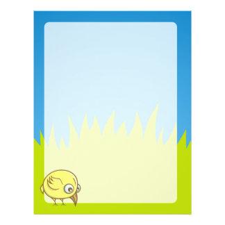 Yellow bird cartoon 21.5 cm x 28 cm flyer