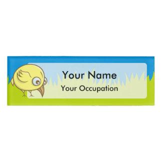 Yellow bird cartoon name tag