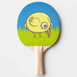 Yellow bird cartoon ping pong paddle