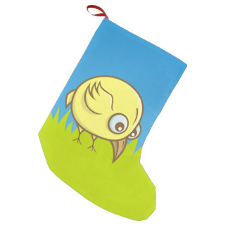 Yellow bird cartoon small christmas stocking