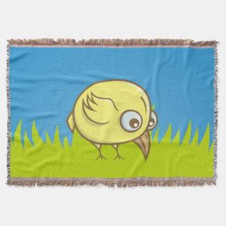 Yellow bird cartoon throw blanket
