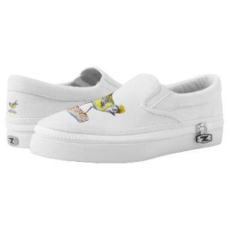 Yellow Bird Drawing Custom Zipz Slip On Shoes,