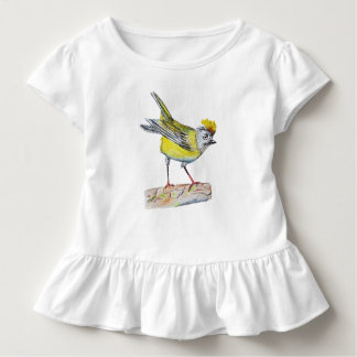 Yellow Bird Drawing Toddler Ruffle Tee, White Toddler T-Shirt