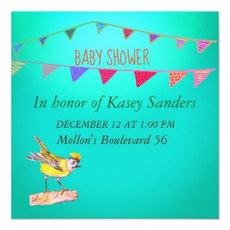 Yellow Bird Flags Blue Baby Shower Invitation
